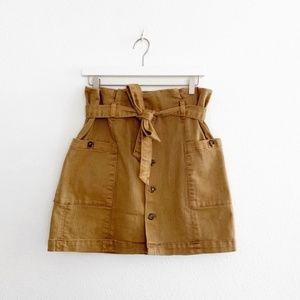 Free People Paperbag High Waist Belted Khaki Skirt